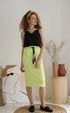 Cotton Midi Skirt With Pockets in Green by Bergamo