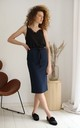 Cotton Midi Skirt With Pockets in Navy Blue by Bergamo