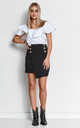 Black Asymmetric Mini Skirt with Gold Buttons by Makadamia