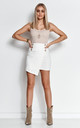 White Asymmetric Mini Skirt with Gold Buttons by Makadamia