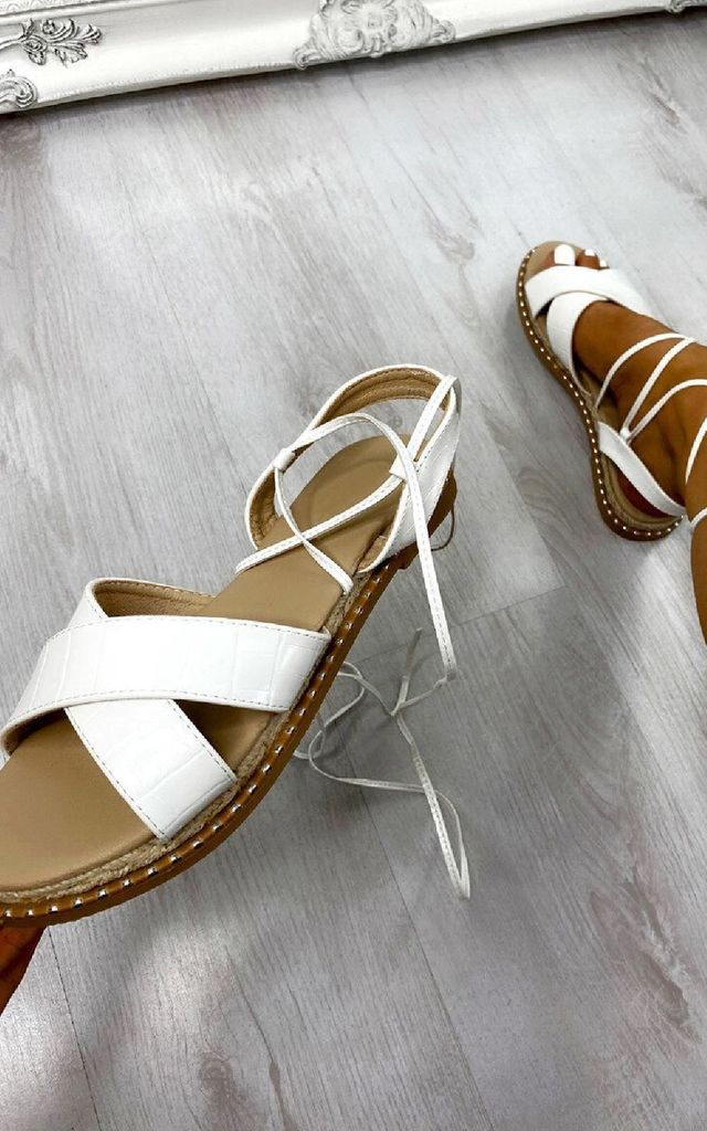 Deja Strappy Sandals in White by IKRUSH