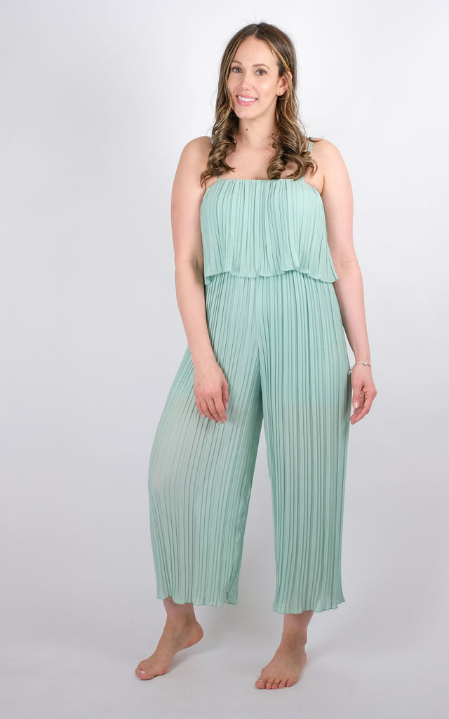 Preeti - Pleated Frill Strappy Jumpsuit In Mint by Pinstripe