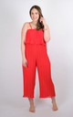 Preeti - Pleated Frill Strappy Jumpsuit In Red by Pinstripe