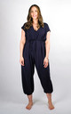 Plain Tie Waist V-Neck Jumpsuit Regular In Navy by Pinstripe