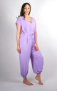 Plain Tie Waist V-Neck Jumpsuit Regular In Lilac by Pinstripe