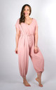Plain Tie Waist V-Neck Jumpsuit Regular In Pink by Pinstripe