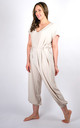 Plain Tie Waist V-Neck Jumpsuit Regular In Beige by Pinstripe