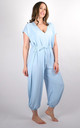 Plain Tie Waist V-Neck Jumpsuit Regular In Baby Blue by Pinstripe