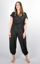 Plain Tie Waist V-Neck Jumpsuit Regular In Black by Pinstripe