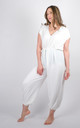 Plain Tie Waist V-Neck Jumpsuit Regular In White by Pinstripe