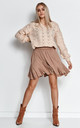 Comfy Loose Jumper with Deep V-Neck in Beige by Makadamia