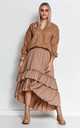 Comfy Loose Jumper with Deep V-Neck in Brown by Makadamia
