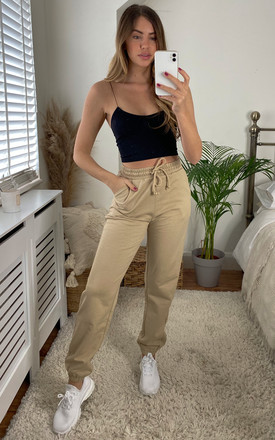 High Waisted Joggers In Beige by VM Product photo