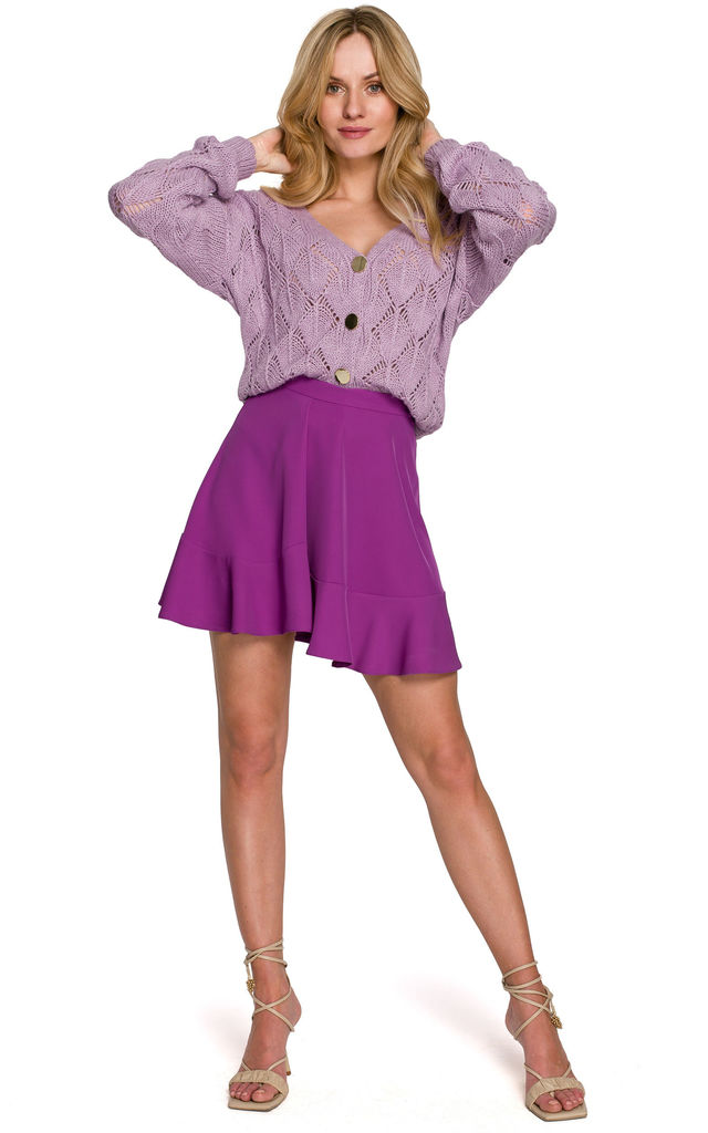 Mini Skirt with Decorative Pleat in Purple by Dursi