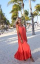 Flared Maxi Dress on Straps in Red by By Ooh La La