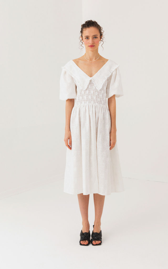 V Neck with Detail White Dress by Pineapple