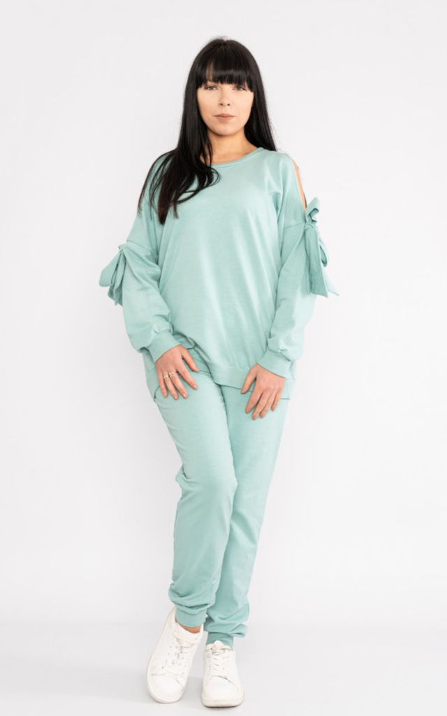 cold shoulder ribbon tie loungewear set in Mint by LOES House