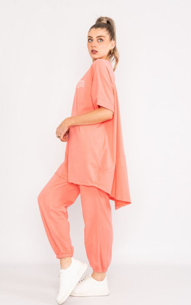 Oversized Short Sleeve loungewear Set in coral pink by LOES House