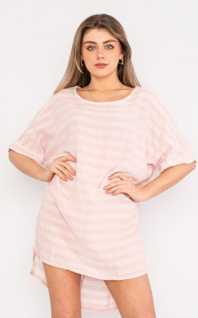 Oversized Striped Short Sleeve Linen Top in baby pink by LOES House
