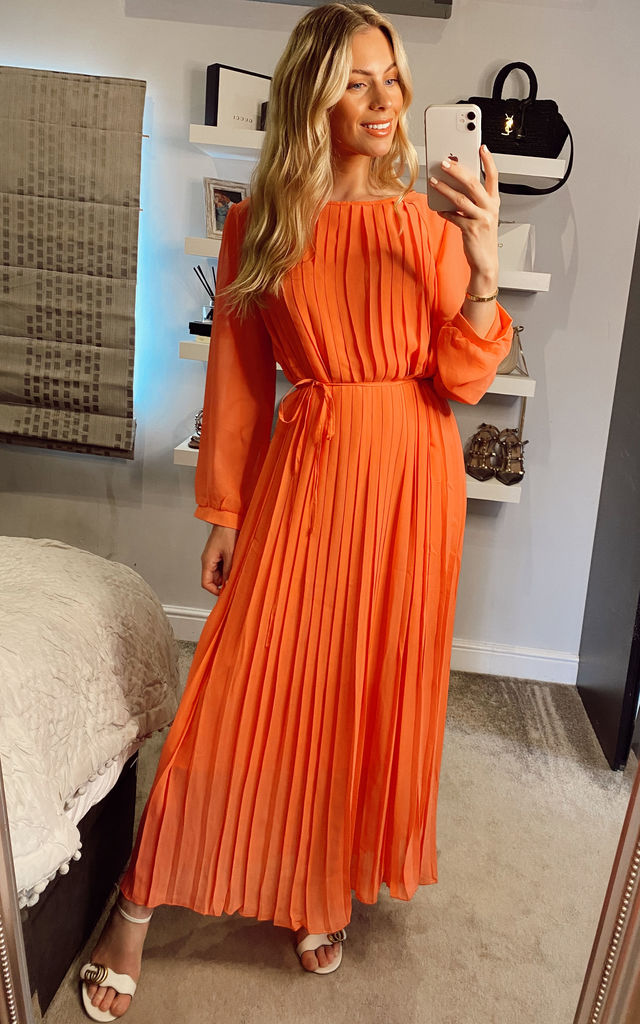 Pleated Maxi Dress with Long Sleeves in Rosey Coral by CY Boutique