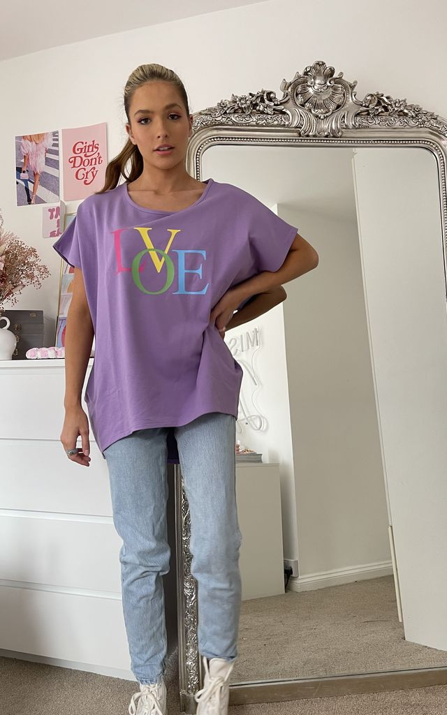 Oversize Lilac Short Sleeve Sweatshirt with Bright LOVE Slogan by Love