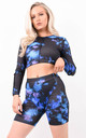 Blue Tie Dye Long Sleeve Crop Top by Boutique Store