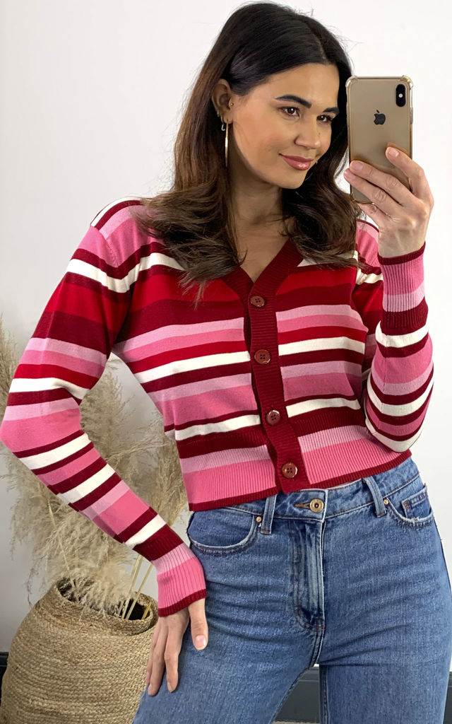 Pink Cropped Cardigan with Stripes by Voodoo Vixen