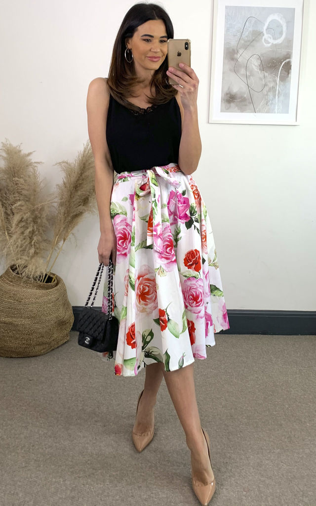 Scarlett Floral Belted Swing Skirt by Hearts and Roses London