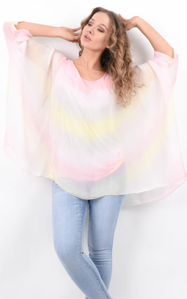 Pink Multicolour Ombre Batwing Silk Tunic by Boutique Store