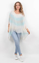 Blue Multicolour Ombre Batwing Silk Tunic by Boutique Store