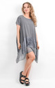 Grey Oversized Short Sleeve Pocket Tunic by Boutique Store