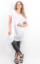 White Oversized Short Sleeve Pocket Tunic by Boutique Store