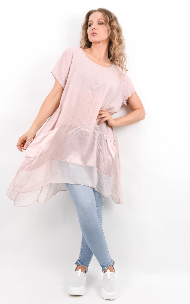 Pink Oversized Short Sleeve Pocket Tunic by Boutique Store