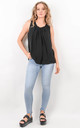 Black Sleeveless Crinkle Effect Top by Boutique Store