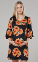 Women's Maternity Jersey Tunic Shift Dress with Frills in Black & Flower Print by Chelsea Clark