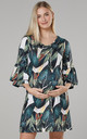 Women's Maternity Jersey Tunic Shift Dress with Frills in Large Leaves Print by Chelsea Clark