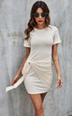 Knot Tie Front Tshirt Dress In Beige by FS Collection