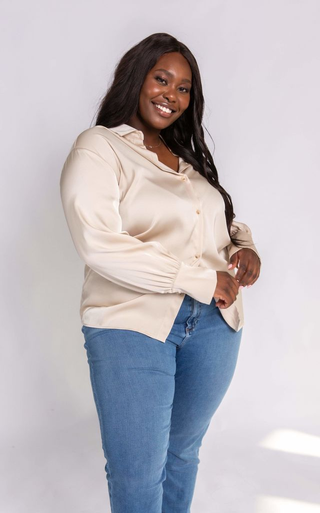 Curve Naomi Relaxed Shirt - Taupe by Pretty Lavish