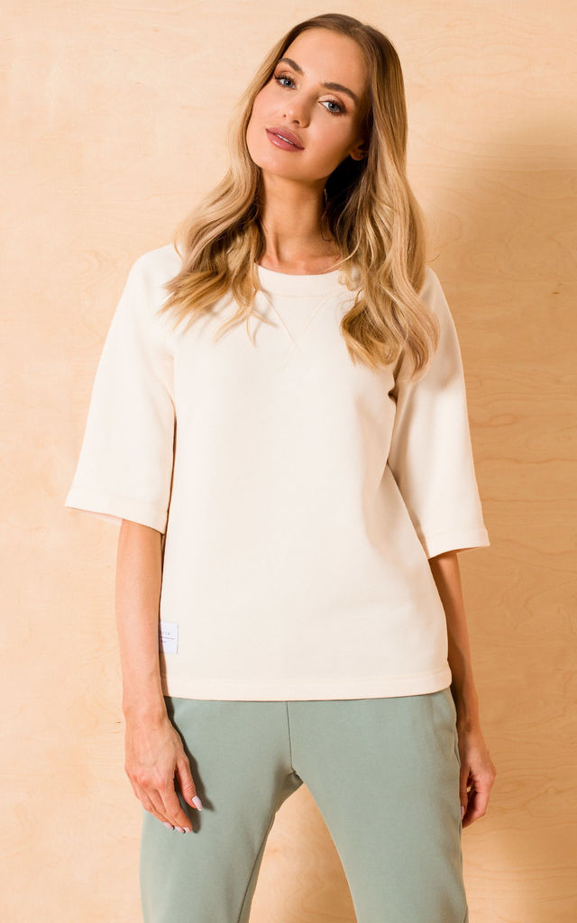 Loose Short Sleeve Top in Cream by MOE