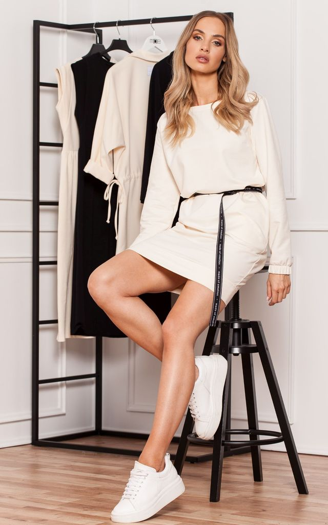 Cream Long Sleeve Mini Dress with Logo Belt by MOE