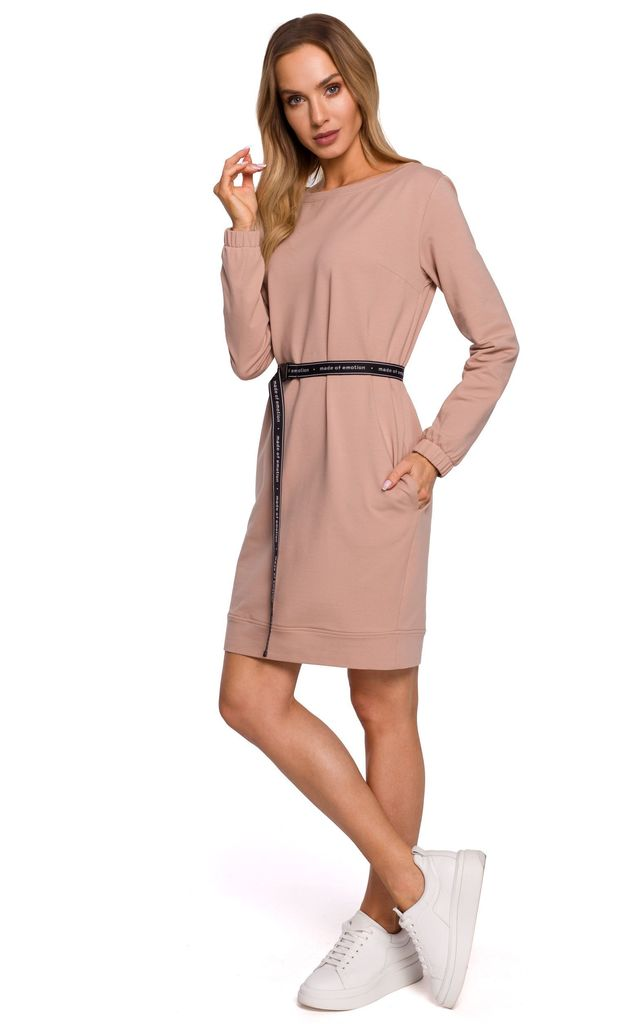 Brown Long Sleeve Mini Dress with Logo Belt by MOE