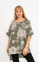 Khaki Floral print linen top. by Lucy Sparks