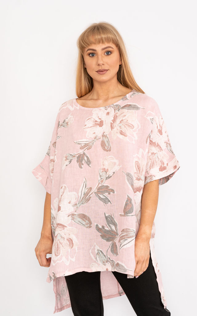 Light Pink Floral print linen top. by Lucy Sparks