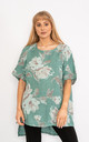 Teal Floral print linen top. by Lucy Sparks