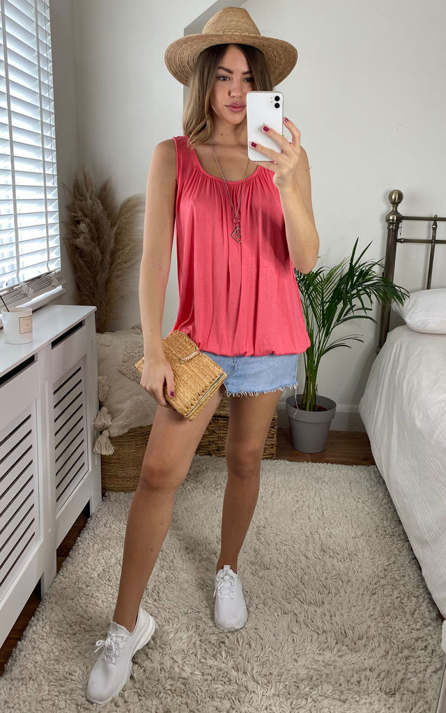 Coral Sleeveless Tank T-shirt by Gini London