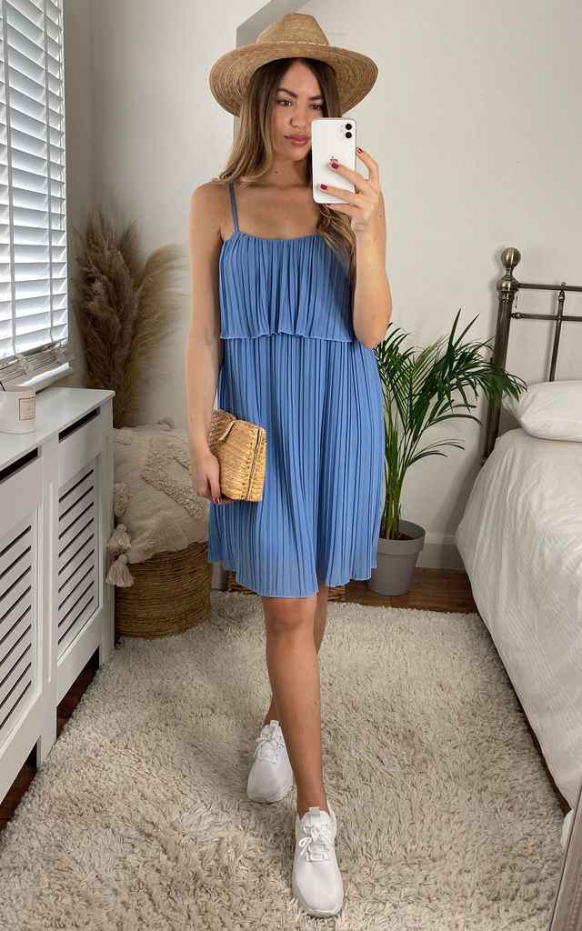 Blue Strappy Layered Top Pleated Midi Dress by Gini London