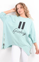 Mint Oversized Pause Button Friday Text Sweatshirt by Boutique Store