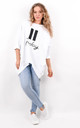 White Oversized Pause Button Friday Text Sweatshirt by Boutique Store