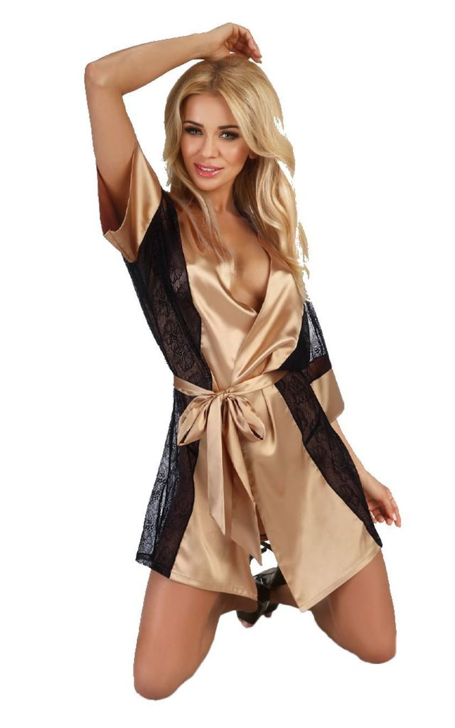 Black & Gold Satin Robe & Thong Set by BB Lingerie