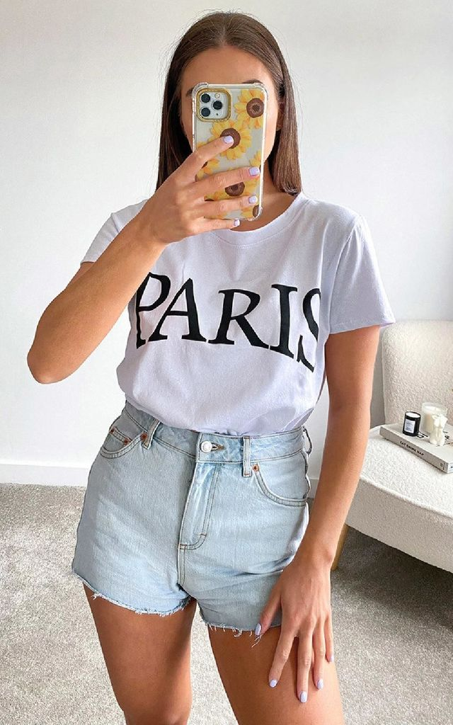 Paris Slogan T-shirt in White by IKRUSH